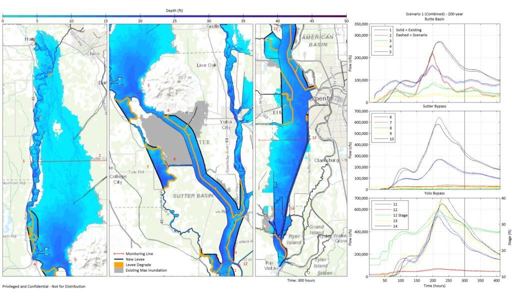 Simulated inundation through Sacramento Valley