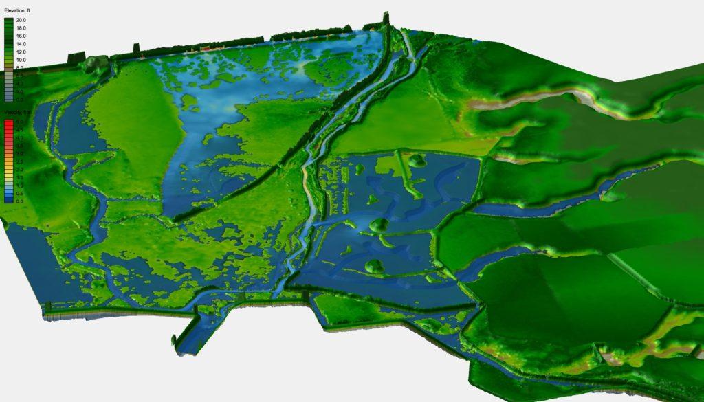 Simulated flood inundation using a 2D hydrodynamic model